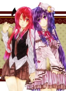 Rating: Safe Score: 12 Tags: koakuma kujaku_renka patchouli_knowledge touhou User: Nekotsúh