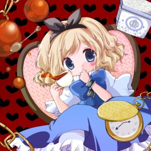 Rating: Safe Score: 10 Tags: alice_in_wonderland alice_margatroid crossover dress futami_yayoi touhou User: Radioactive