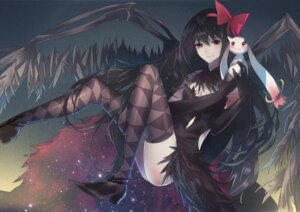 Rating: Questionable Score: 41 Tags: akemi_homura cleavage dress heels kyubey messikid nopan puella_magi_madoka_magica thighhighs wings User: fireattack
