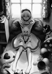 Rating: Safe Score: 35 Tags: alice alice_in_wonderland dress feet monochrome romiy white_rabbit User: Mr_GT