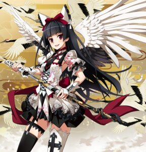 Rating: Safe Score: 72 Tags: dress gate:_jieitai_kanochi_nite_kaku_tatakaeri gothic_lolita lolita_fashion nyoronyoro rory_mercury stockings sword thighhighs wings User: Mr_GT