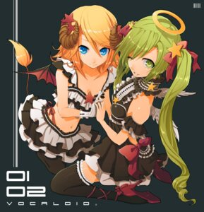 Rating: Safe Score: 49 Tags: cleavage gothic_lolita hatsune_miku horns kagamine_rin lolita_fashion macco ochakai_shinya tail thighhighs vocaloid wings User: fireattack