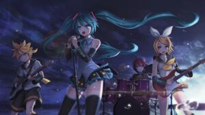 Rating: Safe Score: 42 Tags: guitar hatsune_miku headphones kagamine_len kagamine_rin megurine_luka shunan tattoo thighhighs vocaloid User: Mr_GT