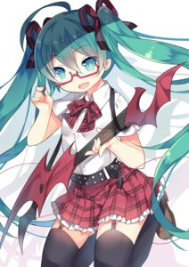 Rating: Safe Score: 47 Tags: guitar hatsune_miku megane saru stockings thighhighs vocaloid User: fairyren