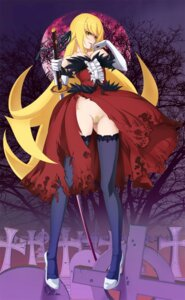 Rating: Questionable Score: 50 Tags: bakemonogatari bandaid breasts cameltoe jpeg_artifacts nipples no_bra nopan oshino_shinobu pointy_ears pubic_hair sword thighhighs tooo User: fairyren