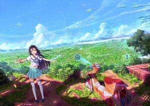 Rating: Safe Score: 45 Tags: kazeno landscape seifuku thighhighs User: SubaruSumeragi