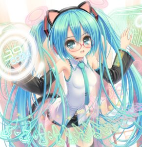 Rating: Safe Score: 43 Tags: animal_ears hatsune_miku headphones kurononon megane nekomimi thighhighs vocaloid User: mash