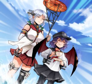 Rating: Safe Score: 14 Tags: akatsuki_(kancolle) cosplay izayoi_sakuya kantai_collection pantyhose reef remilia_scarlet seifuku thighhighs touhou wings yamato_(kancolle) User: Mr_GT