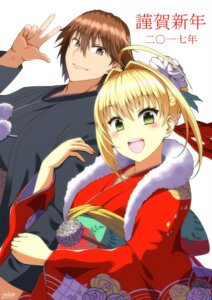 Rating: Safe Score: 9 Tags: fate/extra fate/extra_ccc fate/stay_night japanese_clothes kimono kishinami_hakuno lobo_m_ogami male_protagonist_(fate/extra) saber_extra User: hinatahyuga