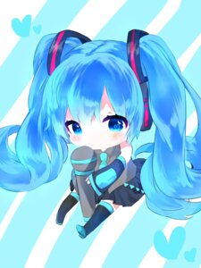 Rating: Safe Score: 24 Tags: chibi hatsune_miku headphones thighhighs tyanotya vocaloid User: charunetra