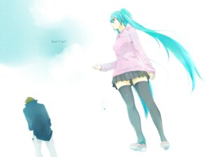 Rating: Safe Score: 19 Tags: futarou hatsune_miku thighhighs vocaloid wallpaper User: charunetra