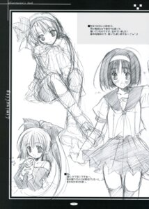 Rating: Safe Score: 3 Tags: ikegami_akane monochrome seifuku sketch thighhighs User: syaoran-kun