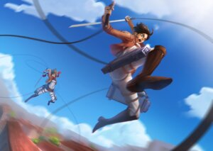 Rating: Questionable Score: 15 Tags: ass bodysuit eren_jaeger mikasa_ackerman open_shirt renyu1012 shingeki_no_kyojin sword User: sylver650