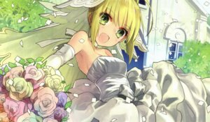 Rating: Safe Score: 44 Tags: cleavage dress fate/extra fate/extra_ccc fate/stay_night saber_extra wada_rco wedding_dress User: charunetra