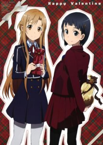 Rating: Safe Score: 37 Tags: asuna_(sword_art_online) kirigaya_suguha kuroki_miyuki pantyhose seifuku sword_art_online valentine User: PPV10