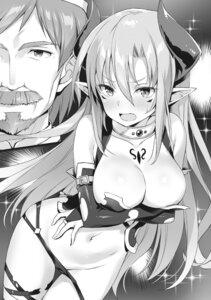 Rating: Questionable Score: 31 Tags: ano_orokamono_ni_mo_kyakkou_wo! breast_hold breasts cameltoe horns monochrome no_bra pantsu panty_pull pointy_ears tattoo torn_clothes yuuki_hagure User: kiyoe