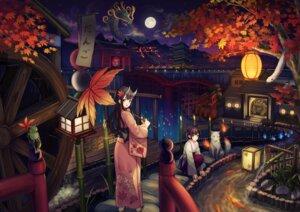 Rating: Safe Score: 36 Tags: horns kimono landscape miko usagino_suzu User: RyuZU