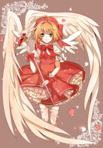 Rating: Safe Score: 34 Tags: card_captor_sakura dress kinomoto_sakura thighhighs tsukumo_(an-mar) wings User: charunetra