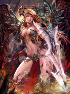 Rating: Questionable Score: 39 Tags: armor cleavage horns ken_(artist) sword thighhighs wings User: Mr_GT