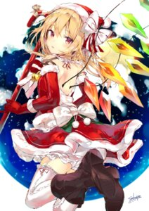 Rating: Safe Score: 36 Tags: bloomers christmas dress flandre_scarlet heels sakusyo skirt_lift stockings thighhighs touhou wings User: sym455