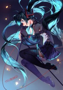 Rating: Safe Score: 25 Tags: hatsune_miku headphones tattoo thighhighs vocaloid yotsuyu User: Mr_GT