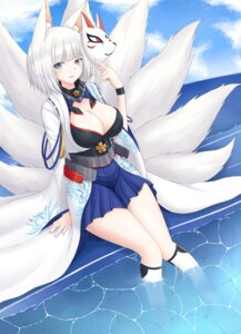 Rating: Safe Score: 30 Tags: animal_ears azur_lane cleavage kaga_(azur_lane) kitsune mentai_mayo tail wet User: Mr_GT