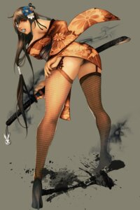 Rating: Questionable Score: 84 Tags: dako eyepatch heels pantsu stockings sword thighhighs User: blooregardo