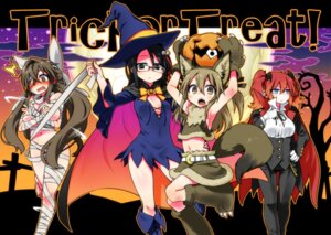 Rating: Questionable Score: 21 Tags: animal_ears bandages breast_hold chankodining_waka cleavage dress halloween kitsune megane no_bra nopan tail witch User: Radioactive