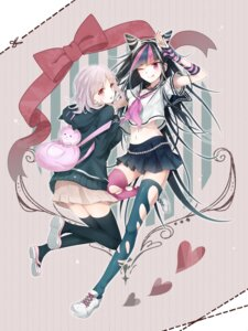 Rating: Safe Score: 45 Tags: dangan-ronpa dangan-ronpa_2 kapiora mioda_ibuki nanami_chiaki seifuku thighhighs torn_clothes User: Mr_GT