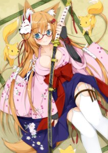 Rating: Questionable Score: 67 Tags: animal_ears cleavage kimono kitsune matatabi_haru megane stockings sword tail thighhighs User: fairyren