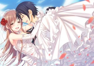 Rating: Safe Score: 45 Tags: asuna_(sword_art_online) dress kirito matsuryuu sword_art_online wedding_dress User: SHM222