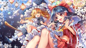 Rating: Safe Score: 8 Tags: cu-rim hakurei_reimu heels kirisame_marisa skirt_lift touhou witch User: Mr_GT