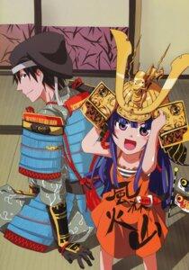 Rating: Safe Score: 18 Tags: akasaka_mamoru armor furude_rika higurashi_no_naku_koro_ni japanese_clothes tonogai_yoshiki User: Radioactive