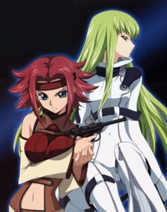 Rating: Safe Score: 18 Tags: bodysuit breast_hold c.c. code_geass gun kallen_stadtfeld shingou_yasushi User: Radioactive