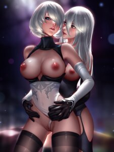 Rating: Explicit Score: 94 Tags: breasts dress leotard liang_xing nier_automata nipples no_bra nopan open_shirt pussy pussy_juice stockings thighhighs uncensored yorha_no.2_type_b yorha_type_a_no._2 yuri User: mash