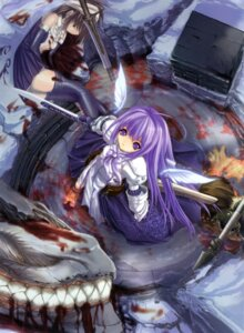 Rating: Questionable Score: 13 Tags: armor aselia_bluespirit blood dress eien_no_aselia fixed hitomaru misaki_kyouko sword thighhighs wings xuse User: TBFGETTA