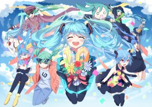 Rating: Safe Score: 34 Tags: chibi dress hatsune_miku headphones megane_shoujo siji_(szh5522) sweater thighhighs uniform vocaloid User: Mr_GT