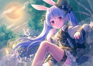 Rating: Safe Score: 19 Tags: animal_ears bunny_ears dress fishnets gothic_lolita hololive lolita_fashion magowasabi skirt_lift stockings thighhighs usada_pekora User: Mr_GT