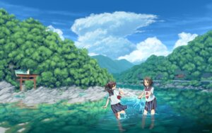 Rating: Safe Score: 34 Tags: feet landscape see_through seifuku syego wallpaper wet wet_clothes User: charunetra