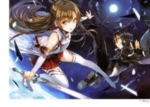 Rating: Safe Score: 44 Tags: armor asuna_(sword_art_online) kirito sword sword_art_online thighhighs yuugen User: drop