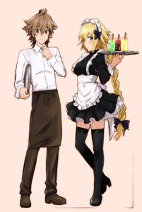 Rating: Safe Score: 10 Tags: fate/apocrypha fate/stay_night heels jeanne_d'arc jeanne_d'arc_(fate) maid nyorotono sieg_(fate/apocrypha) thighhighs waitress User: shevchenko