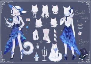 Rating: Questionable Score: 16 Tags: animal_ears character_design heels heterochromia neko nekomimi no_bra sheya skirt_lift tail tattoo User: Mr_GT