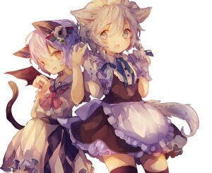 Rating: Safe Score: 17 Tags: animal_ears cha_goma izayoi_sakuya maid nekomimi remilia_scarlet tail thighhighs touhou wings User: charunetra