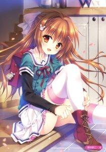 Rating: Safe Score: 117 Tags: hanasaki_nonoka hanasaki_work_spring saga_planets seifuku tatekawa_mako thighhighs User: Twinsenzw
