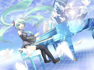 Rating: Safe Score: 8 Tags: hatsune_miku k2pudding thighhighs vocaloid wallpaper User: yumichi-sama