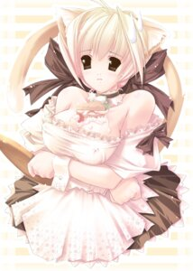 Rating: Questionable Score: 14 Tags: animal_ears breast_hold cleavage erect_nipples g.t.f jian maid nekomimi User: fireattack