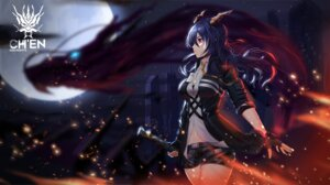 Rating: Safe Score: 22 Tags: arknights bra ch'en_(arknights) cleavage horns monster moyude_wangzi_jiang sword User: Mr_GT