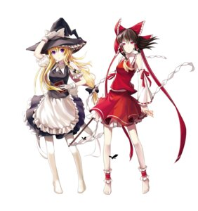 Rating: Safe Score: 12 Tags: hakurei_reimu kirisame_marisa lightofheaven thighhighs touhou User: Radioactive