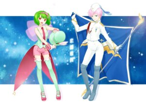 Rating: Safe Score: 7 Tags: macross macross_frontier nagian ranka_lee sheryl_nome thighhighs uniform User: Nekotsúh