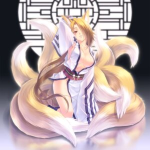 Rating: Questionable Score: 48 Tags: animal_ears cleavage kitsune kuroneko_sakon no_bra nopan tail User: inumimi.7